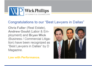 "See Three Wick Phillips Partners Recognized as ""Best Lawyers in Dallas"" by..."