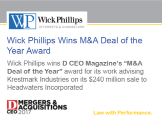 See Wick Phillips Wins M&A Deal of the Year Award for Krestmark...