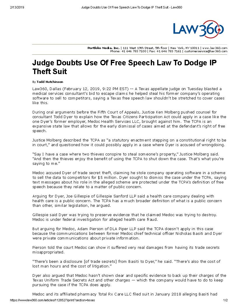 Judge Doubts Use Of Free Speech Law To Dodge IP Theft Suit - Law360_Page_1.jpg